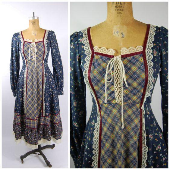 #1970s Homespun Hippie #Dress - #Boho Midi Dress - Peasant Dress - Floral Print #70s Dress #Vintage size 7