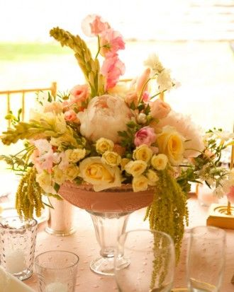 "See the ""The Centerpieces"" in our A Pink-and-Yellow Vintage-Inspired Wedding in Utah gallery"
