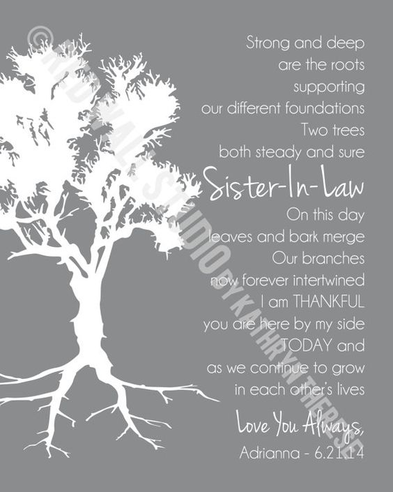 Sister In Law Poems: Gift For Sister In Law, Personalized Art Print Poem