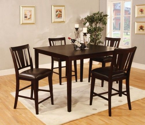 Furniture Of America Bridgette II Espresso Counter Height Table Set 5 Pieces As Shown