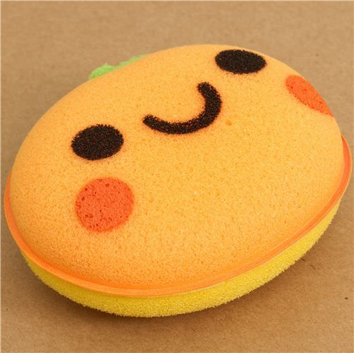 orange peach sponge for washing dishes