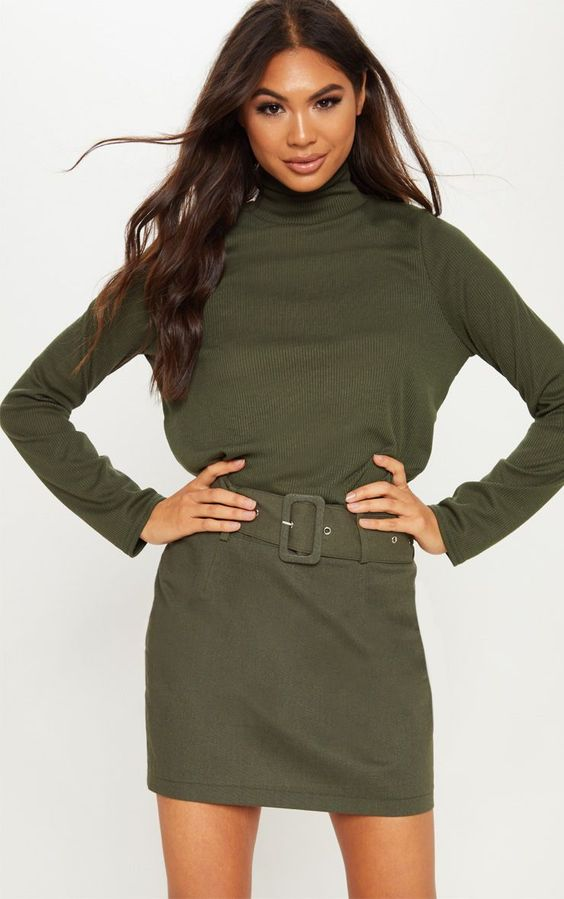 Khaki Belted Cargo Mini SkirtThis skirt is a wardrobe staple for the colder months, featuring a b...