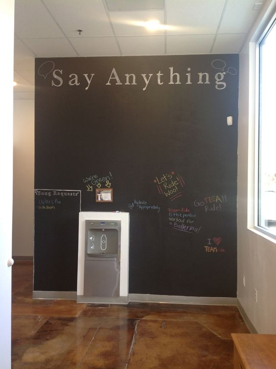 """Say Anything"" chalkboard wall. #spin #fitness #cycling #TEAMride"