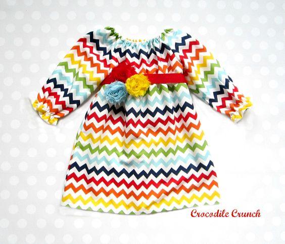 Girls Rainbow Chevron Dress, Baby Girl Rainbow Dress, Candyland Dress by crocodilecrunch on Etsy https://www.etsy.com/listing/173616510/girls-rainbow-chevron-dress-baby-girl