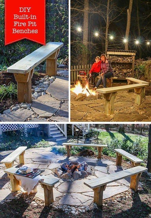 Diy Built In Fire Pit Benches Diyfirepit Diy Built In Fire Pit