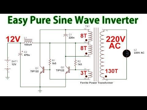 How To Make A Pure Sine Wave Inverter 12v To 220v Dc To Ac Youtube In 2020 Electronic Circuit Design Electrical Circuit Diagram Electronic Circuit Projects