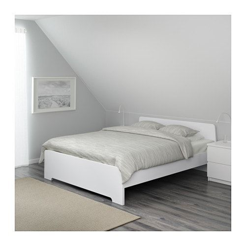 Askvoll Okvir Kreveta Bijela Luroy 140x200 Cm Ikea White Bed Frame Adjustable Beds King Size Bed Frame