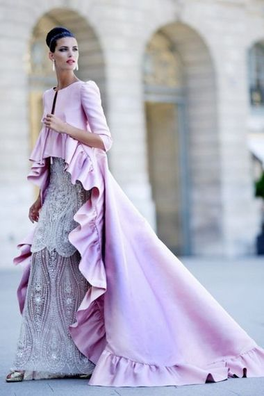 The dress is beautiful, the coat is very dramatic but I would prefer a different color!