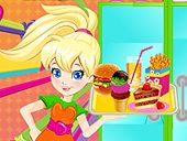 Polly' s Burger Bar - Polly is spending the summer working at a burger bar. Help her cook burgers, assemble them, and serve drinks.