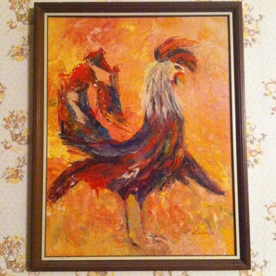 Rooster Oil Painting Hand paired by local elderly lady from Walton, NY. hand painted Other