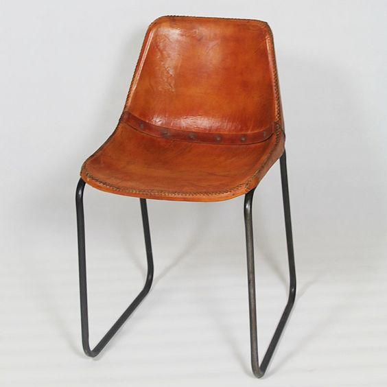 Chaise industrielle cuir et  structur metal