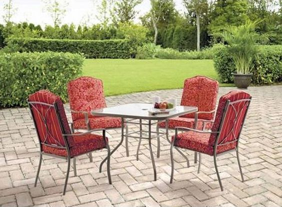 Outdoor Patio Furniture Dining Set 5 Piece Seats 4 Garden Iron Table And Chairs #Mainstays