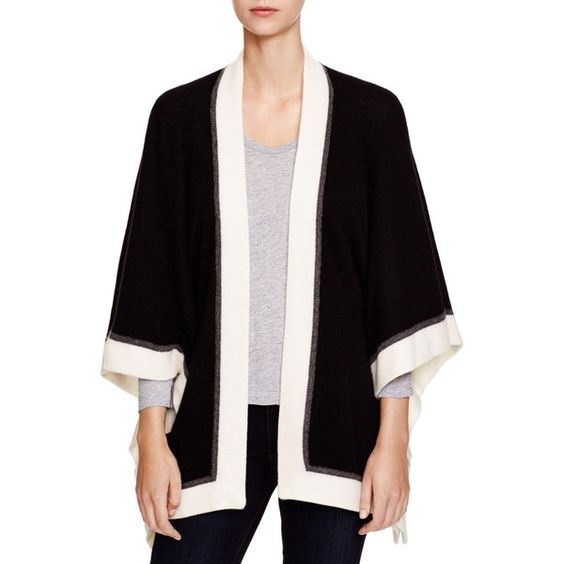 C by Bloomingdale's Color Block Cashmere Open Cardigan ($228) ❤ liked on Polyvore featuring tops, cardigans, black, cashmere open front cardigan, black cardigan, 3/4 sleeve tops, black kimono and open front cardigan