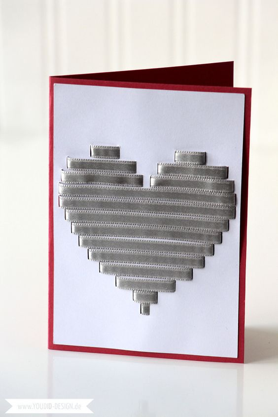 Herz mit Geschenkband Karte | www.youdid-design.de