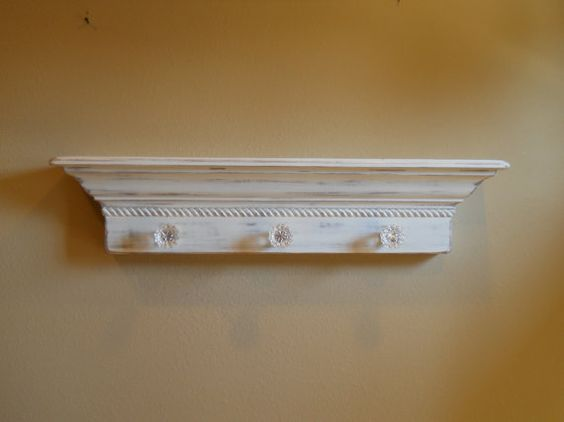 36 Floating Wall Shelf With Glass Door Knobs Shabby Chic