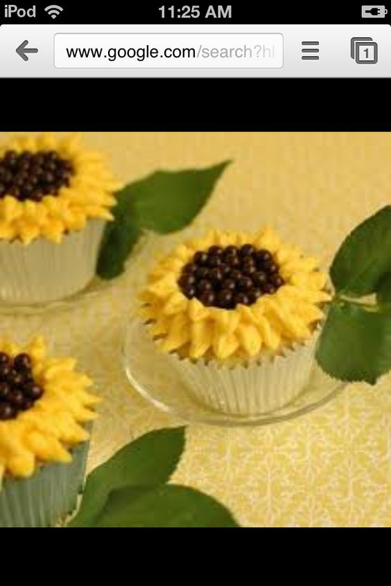 Beautifully frosted Sun Flower Cupcakes