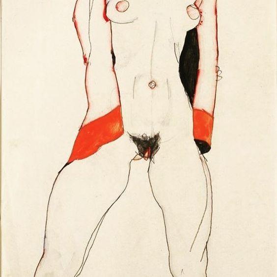 Standing nude in red jacket, 1910 #egonschiele #schiele #art #egonschieleswomen #girlpower