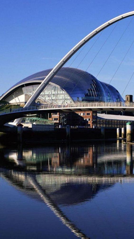 The Sage Gateshead,  Gateshead Millennium Bridge - Gateshead and Newcastle upon River Tyne - England