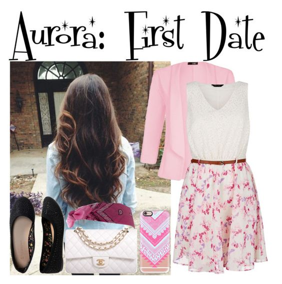 """""""Aurora: First Date"""" by shelbylynnjohnson ❤ liked on Polyvore featuring Quiz, Aéropostale, Chanel, Casetify, women's clothing, women's fashion, women, female, woman and misses"""