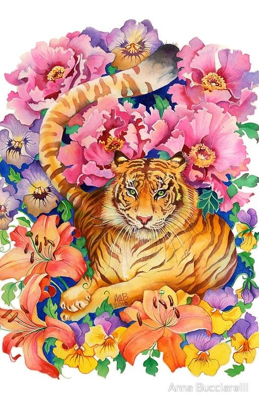 Tiger Chinese Zodiac Watercolor Iphone Case By Anna Bucciarelli