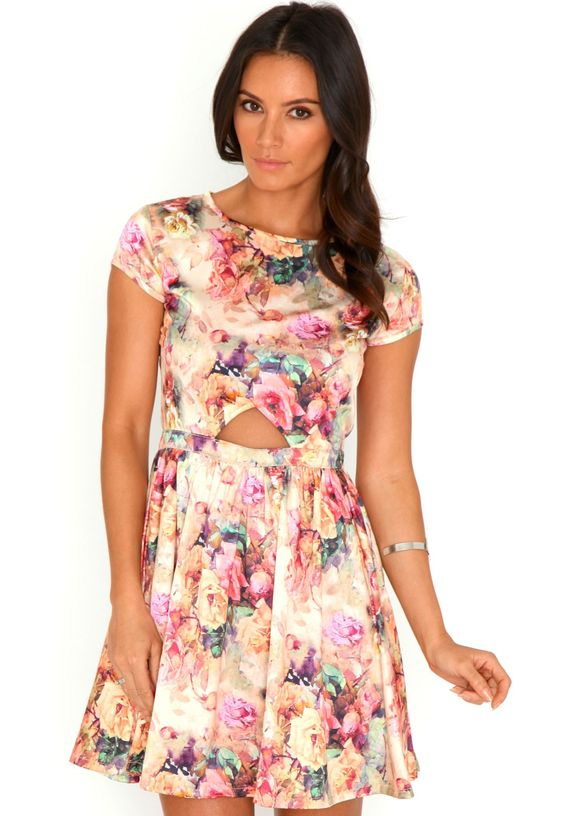 Elodie Floral Cut Out Skater Dress