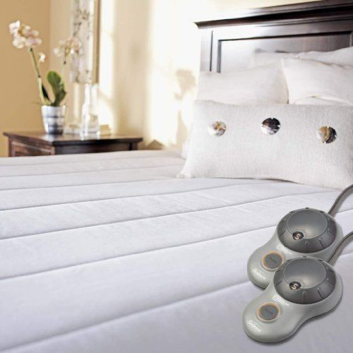 Electric Mattress Pad Queen Size Quilted 10 Heat Settings Dual Zone Controller  #Sunbeam