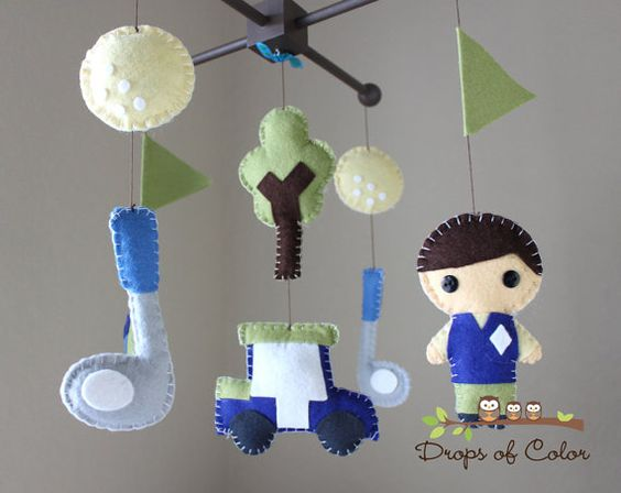 Baby Crib Mobile Baby Mobile Golf Mobile by dropsofcolorshop