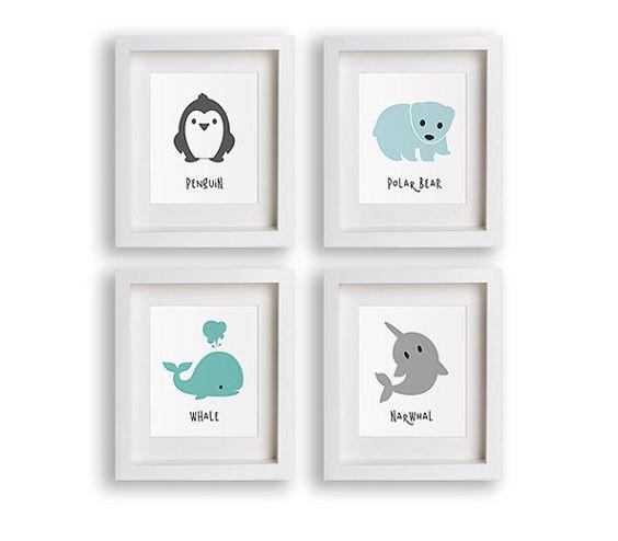 NEW Arctic Animals Nursery Art Set - Nursery Decor, Penguin, Polar Bear, Whale, Narwhal, Baby Room, Kids Art Prints, Modern Nursery, Toddler