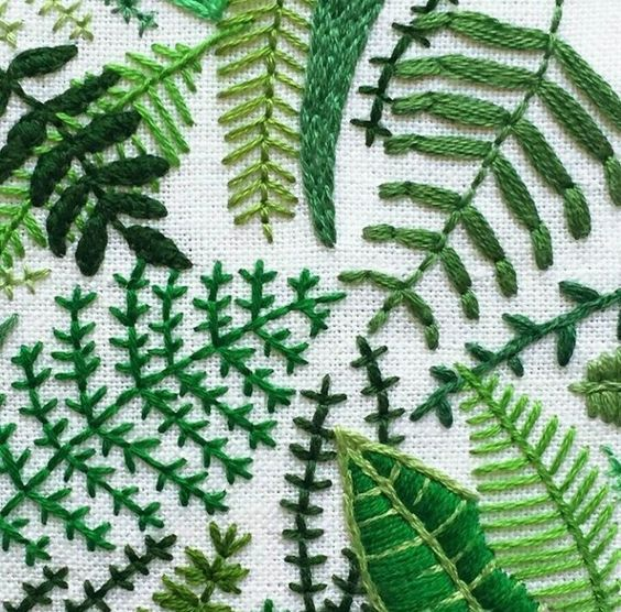 Embroidery ferns and tropical on pinterest