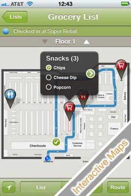 Aisle411's supermarket navigation interface - Aparentemente com a rota entre os produtos e finalizando no caixa