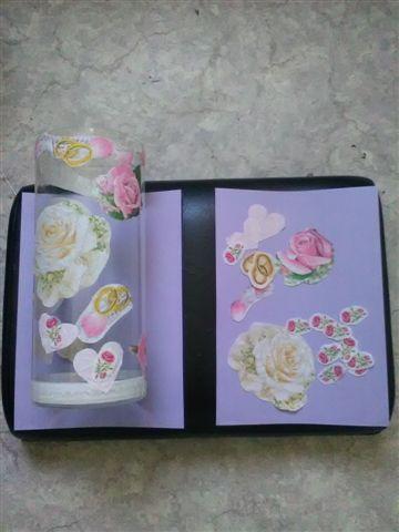 Glazen hoge 30 cm Vaas, het begin met papieren Vintage Servetten.