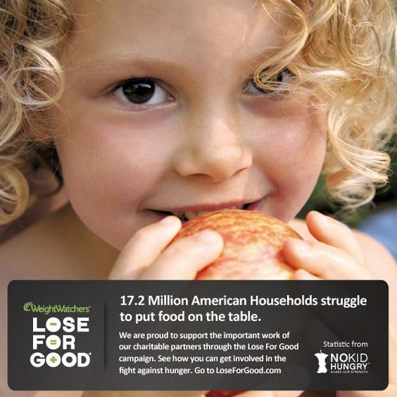 Thanks to your weight loss during the Lose For Good® campaign, we can help to eradicate childhood hunger in the US. Learn how you can help at LoseforGood.com #WWLoves