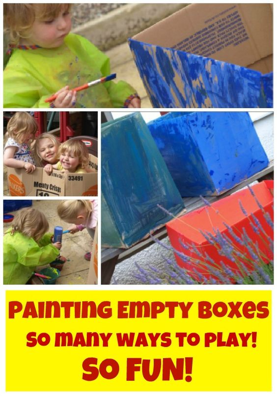 Simple fun with empty boxes and paint!  Keeps little ones entertained for hours!