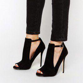 3 inch black open toe heels