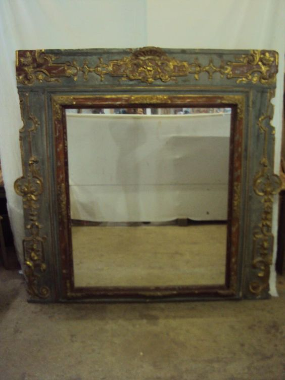 Large #mirror period #LouisXIV with #original #woodwork polychrome. For sale on Proantic by  Buhard Jean Yves.