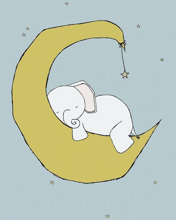 Nursery art    baby elephant moon and stars dream    nursery decor ...