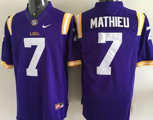 LSU Tigers #7 Tyrann Mathieu Purple Stitched NCAA Jersey | Jersey ...