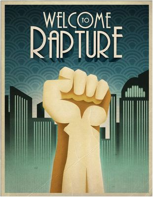 Great poster from Bioshock, nice background pattern, geometric buildings and great typeface    Super Punch: Bioshock posters, Lego Big Daddy, Little Sister cosplay, and more