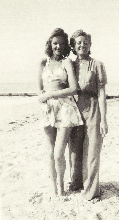 Lauren Bacall at 15 with her mother, Natalie ~ 1940: