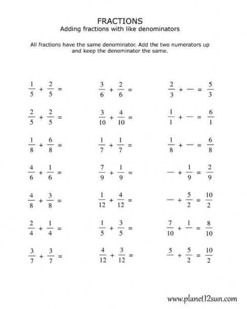 Addition Fraction Worksheets 4th Grade Math Fractions Worksheets Adding And Subtracting Fractions Fractions Worksheets