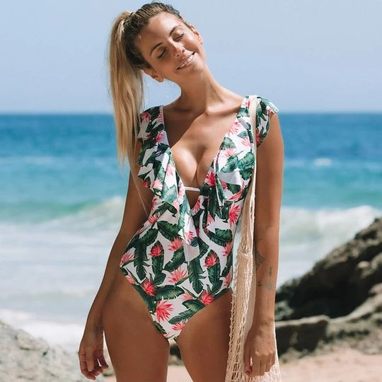 2019 Sexy Ruffle One Piece Swimsuit Women Swimwear Push Up Monokini Bo
