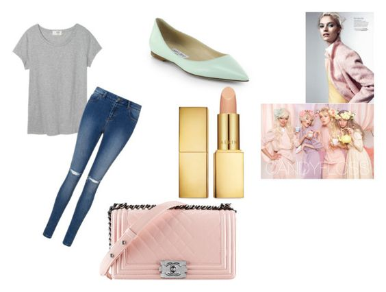 """""""Pastel"""" by vintage-inspired-outfits ❤ liked on Polyvore featuring Chanel, Jimmy Choo, AERIN, women's clothing, women's fashion, women, female, woman, misses and juniors"""