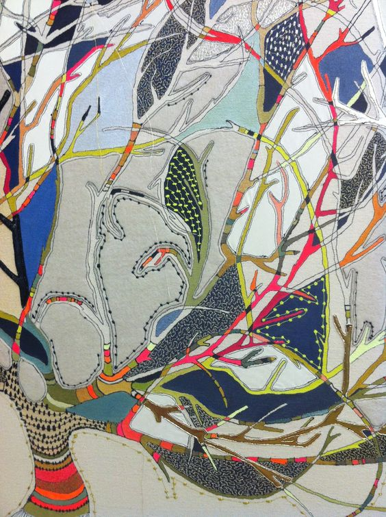 Louise Gardiner - quilted tree. Love this, it looks like arty colouring in.