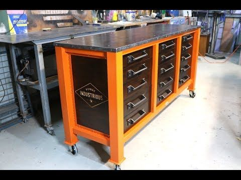 7 Make A 15 Drawer Workshop Cabinet Forme Industrious Youtube Workshop Cabinets Workshop Desk Workbench With Drawers