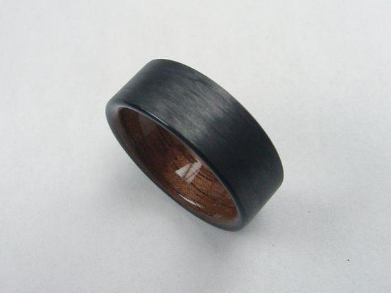 Mens Wedding Ring With Wood Carbon Fiber And Black Walnut Bent Wood Ring Mens Wedding Band