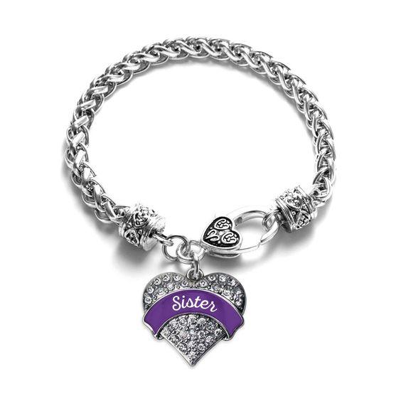 Purple Sister Pave Heart Bracelet
