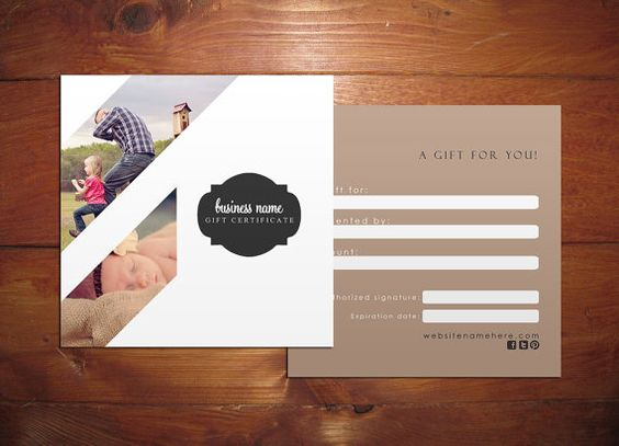 Minimal III Double sided gift certificate design - Instant ...