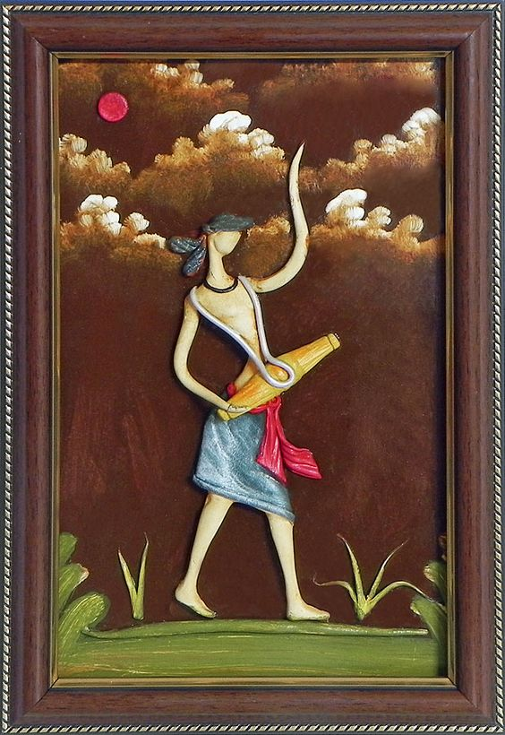Vaishnav drummer wall hanging poly resin on hardboard for Clay mural designs