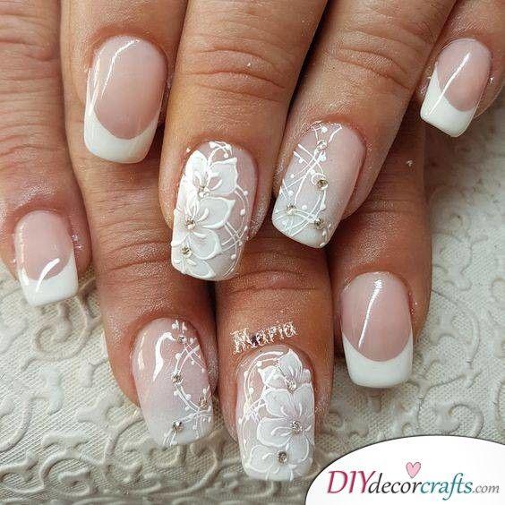 Romantic Florals Wedding Nails For Bride Lace Nail Art Lace Nail Design Lace Nails