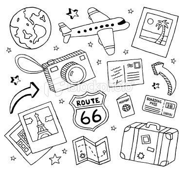 Travel Doodles Royalty Free Stock Vector Art Illustration